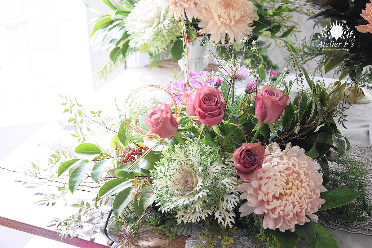 バラと菊でお正月アレンジ