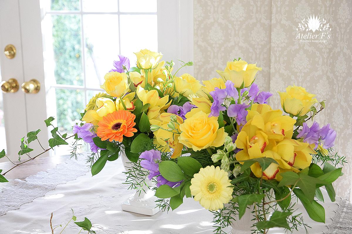 黄色い花を集めてイギリススタイルフラワーアレンジメント